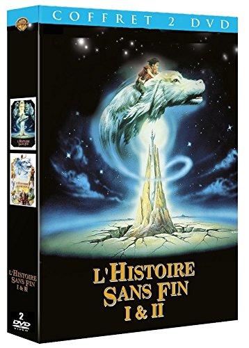 histoire sans fin le film le dragon chien vole autour de la tour d'ivoire avec le jeune guerrier Atreyu sur son dos