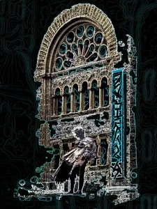 Une église écroulée devant le néant, une statue d'ange se dresse
