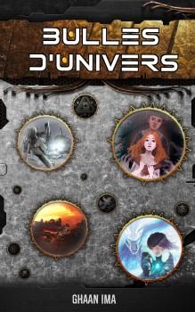 couverture des 7 histoires de SFF, ambinace métal steampunk avec des bulles ouvrant sur différents monde des supers pouvoirs glacés aux zombies en passant par la planète Mars