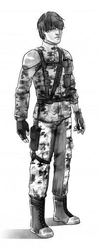 Aksel Koceila, personnage du roman mira, un jeune homme en uniforme militaire avec des cheveux en bataille cachant une cicatrice sur ses yeux