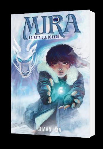 """couverture du livre """"Mira, la bataille de l'eau"""": une jeune fille rassemble ses pouvoirs de la couleur de l'éclair, avec derrière elle, un dragon japonais"""