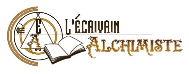 logo du site: les initiales de l'écrivain Alchimiste enfermées dans un cercle d'alchimie avec à côté, un livre ouvert