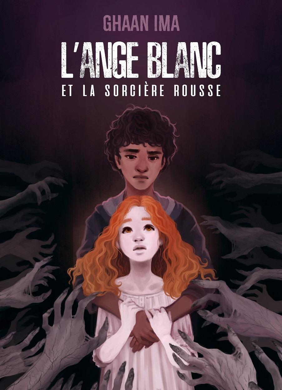 Couverture de l'ange blanc et la sorcière rousse. Une jeune métis tiens dans ses bras une petite fille rousse à la peau de lait, qu'il regarde avec un air triste. Des mains de zombie les entourent