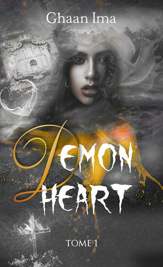 le visage d'une jeune arabe au milieu du paysage perdu des enfert avec le titre Demon Heart écrit en lettre de sang doré