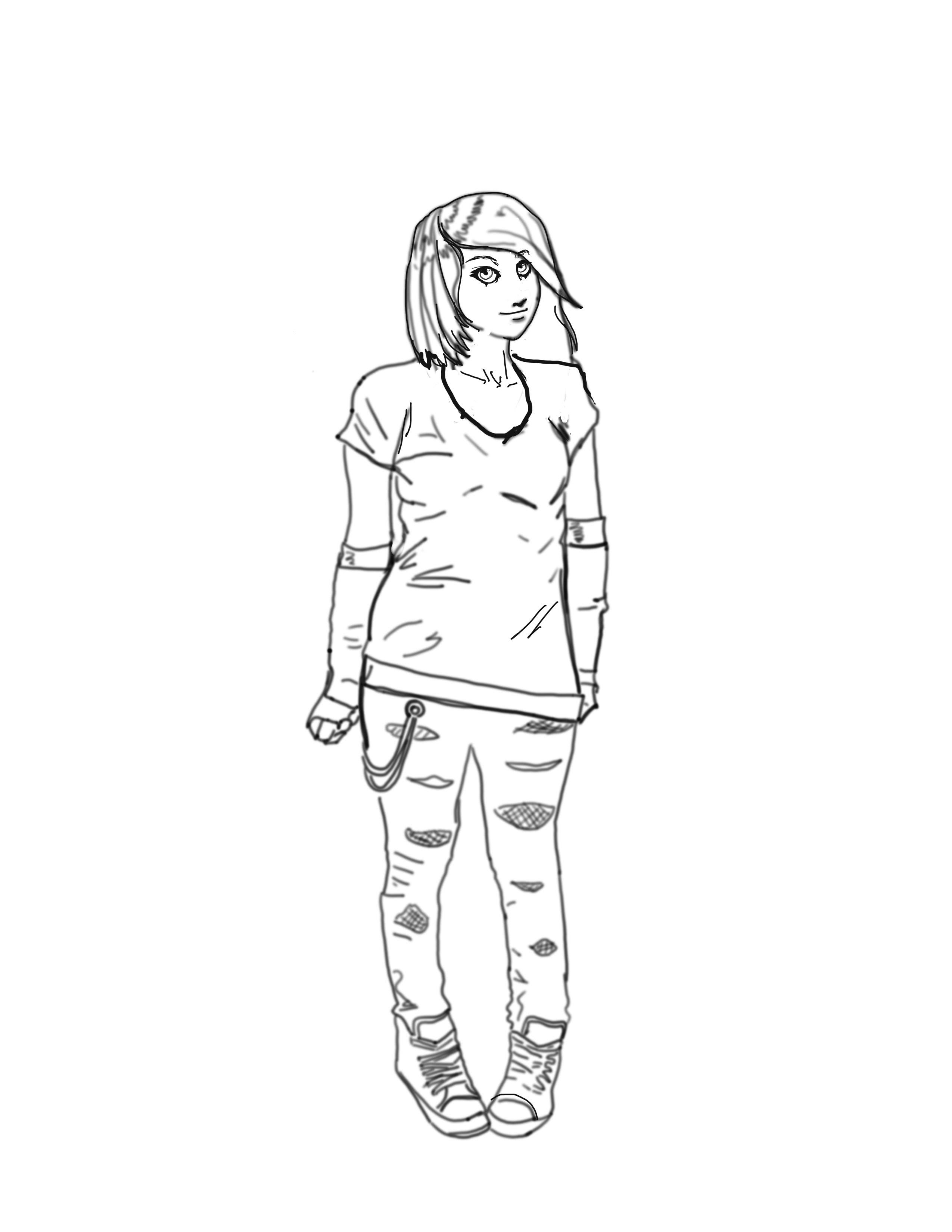 crayonné d'une jeune fille emo un peu ronde ^^