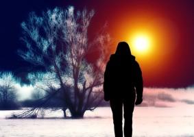 Pashka en ombre chinoise devant un coucher de soleil dans un paysage glacé