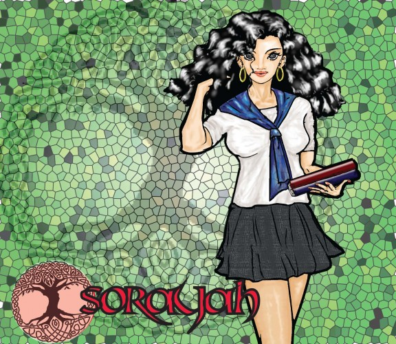 Sorayah en écolière devant une mosaique représentant Yggdrasil, l'arbre de vie