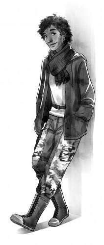 Michael Lincoln, personnage du roman mira : un jeune métis habillé casual et adossé contre un mur