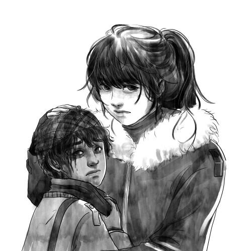 Personnages de mira : Pashka et Kit, une jeune femme tiens dans ses bras un petit garçon terrifié qui porte un étrange casque sur la tête